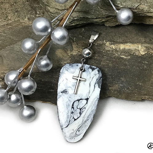 Pretty black and white slate pendant with cross