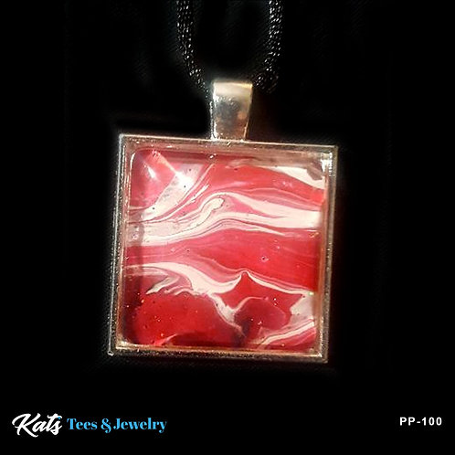 Poured Painting small square pendant - crimson and white