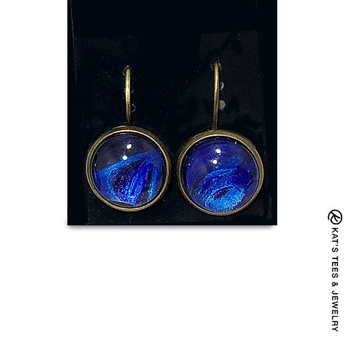Sapphire blue and metallic purple poured acrylics leverback earrings