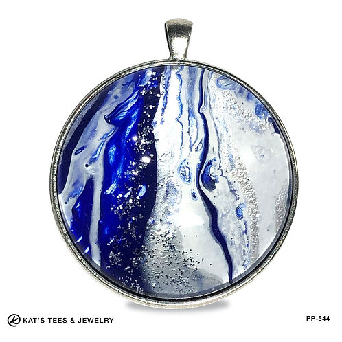 Large sparkly blue white and silver pendant