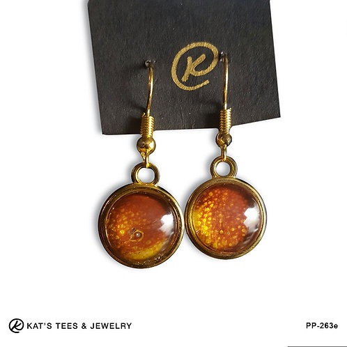 Maroon and gold poured acrylic earrings