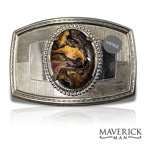 Vintage champagne belt buckle with hand painted gold and purple stone