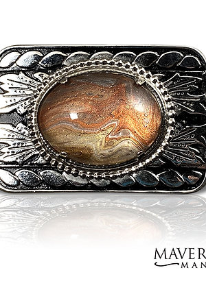 Black and silver filigree belt buckle with hand painted stone