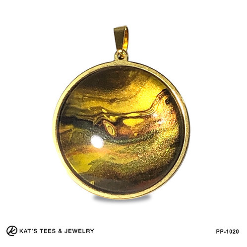 Tiger eye pendant in gold stainless steel