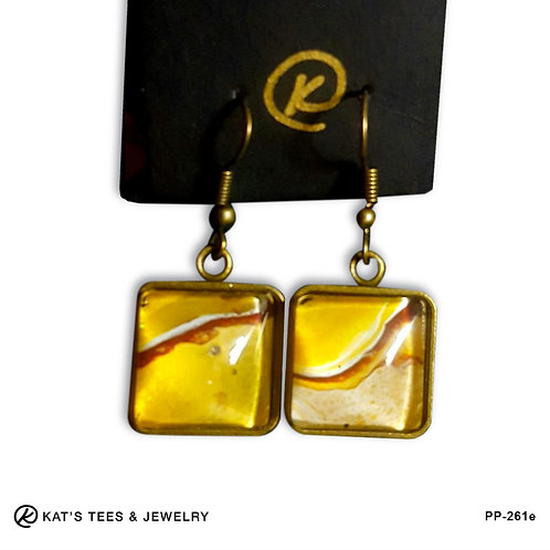 Gold and maroon earrings from poured acrylics