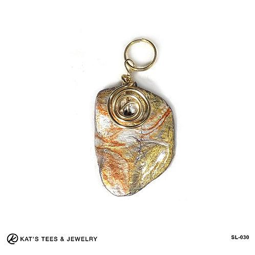 Small slate pendant in earthtone metallic poured acrylics