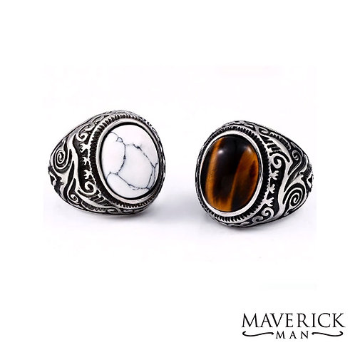 Mens stainless steel ring w white turquoise or tiger eye
