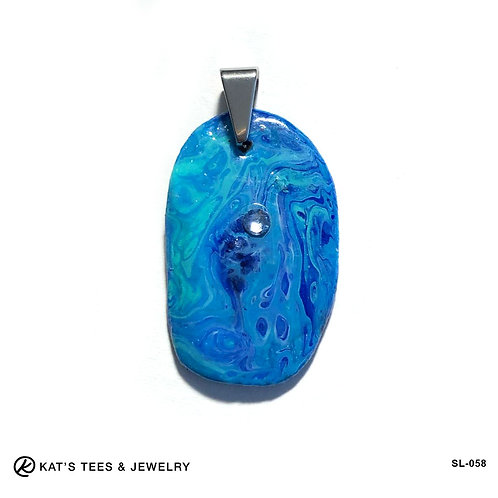 Slate pendant in shades of turquoise and blue with Swarovski® crystal