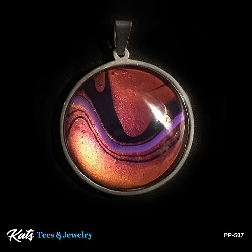 Stainless Steel Poured Painting Pendant with Copper and Purples
