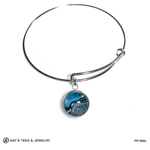 Turquoise charm on stainless steel bracelet