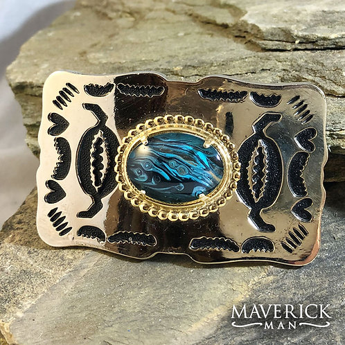 Sharp gold belt buckle with hand painted turquoise stone