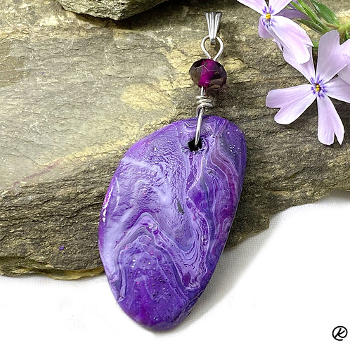 Small slate pendant with Swarovski® crystal bead