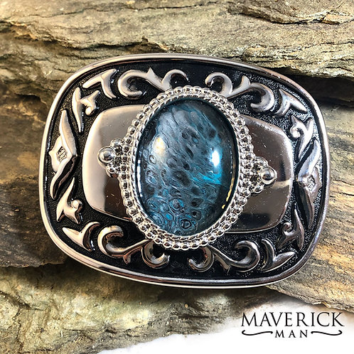 Handsome belt buckle with unusual turquoise and silver stone