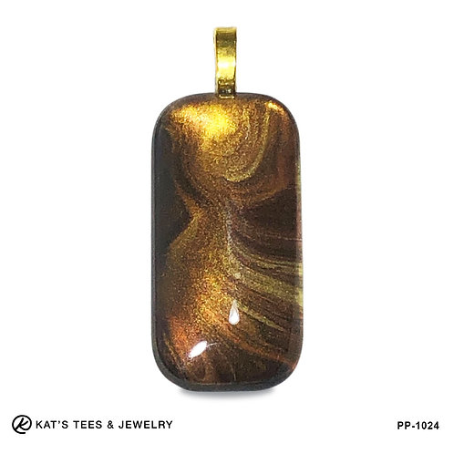 Large tiger eye pendant in poured acrylics