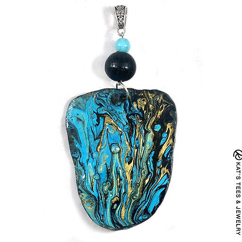 Stunning large turquoise gold and black painted slate pendant