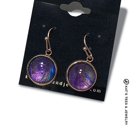 Gorgeous metallic purple poured acrylic earrings in rose gold stainless steel