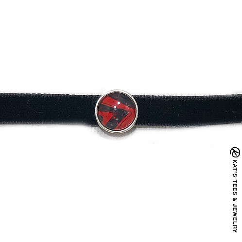 Unusual red and black choker
