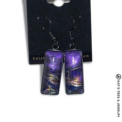 Metallic purple poured acrylics in black stainless steel earrings
