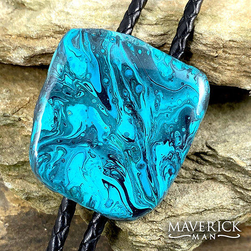 Unusual slate bolo in shades of turquoise and black