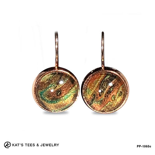 Fabulous artistic earrings in copper and gold