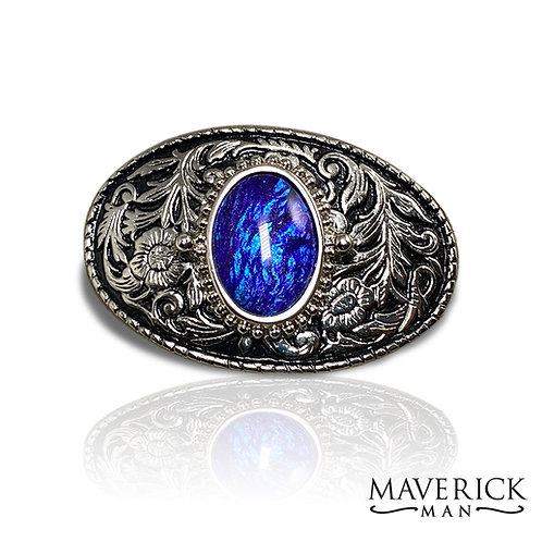 Small belt buckle with hand painted sapphire-like stone