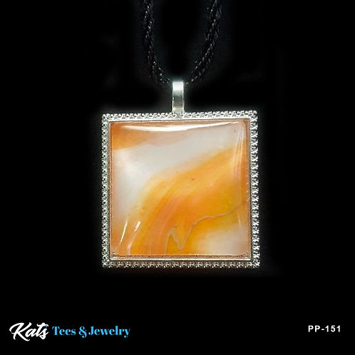 Poured Painting small square pendant - orange and white - wearable art!