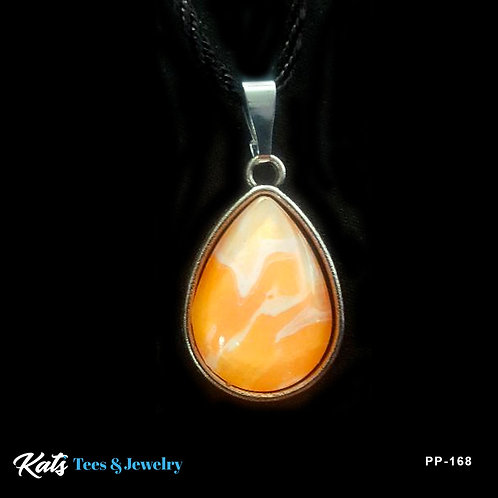 Poured Painting sm Teardrop pendant - orange and white - wearable art!