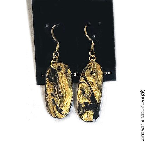 Beautiful gold and black slate earrings