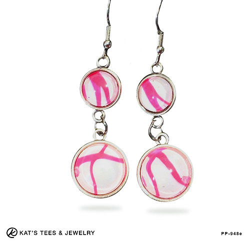 Pink Lovers Collection Earrings Hot Pink and White