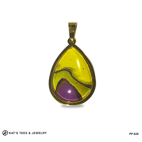 Purple and Yellow pendant in gold-plated stainless steel