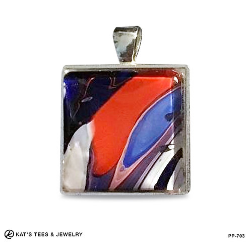Small square pendant in patriotic red white and blue