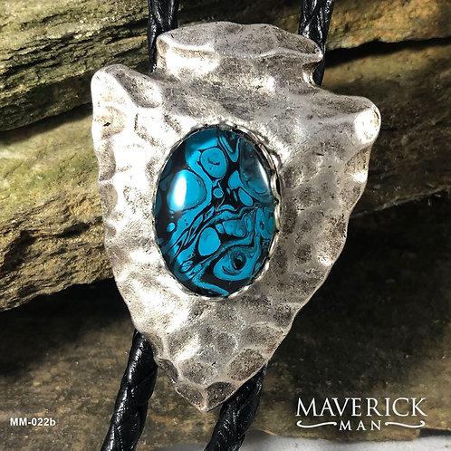 Stylish medium sized arrowhead bolo in turquoise and black