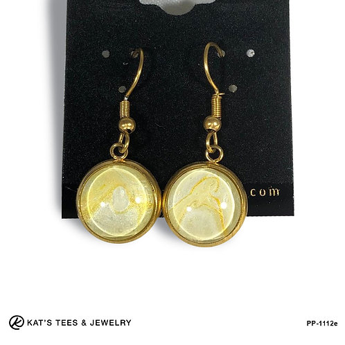 Beautiful gold plated stainless steel earrings with gold metallic art