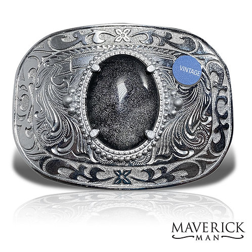 Large silver belt buckle with hand painted stone in platinum and black