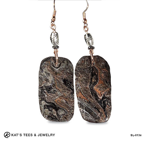 Large copper silver and black slate earrings