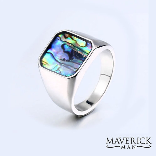Mens Titanium ring with inlaid abalone shell