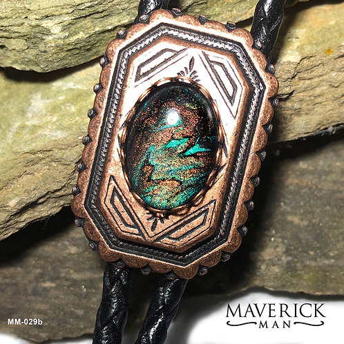 Handpainted bolo in metallic copper and emerald green