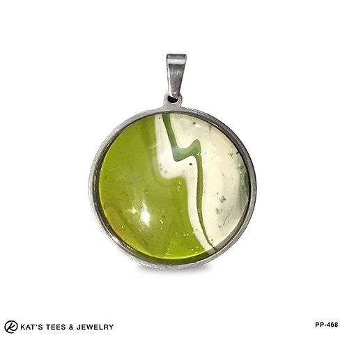 Green and white stainless steel pendant
