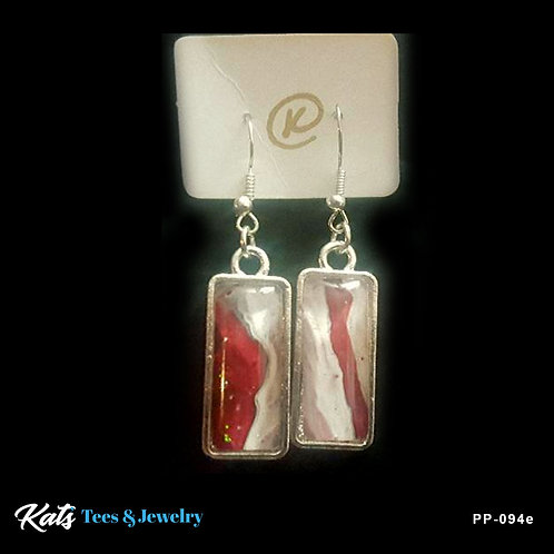 Poured Painting earrings - crimson white and gray