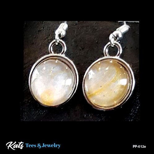 Poured Painting earrings - gold and silver - wearable art!