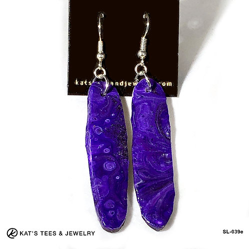 Stunning long slate earrings in shades of purple