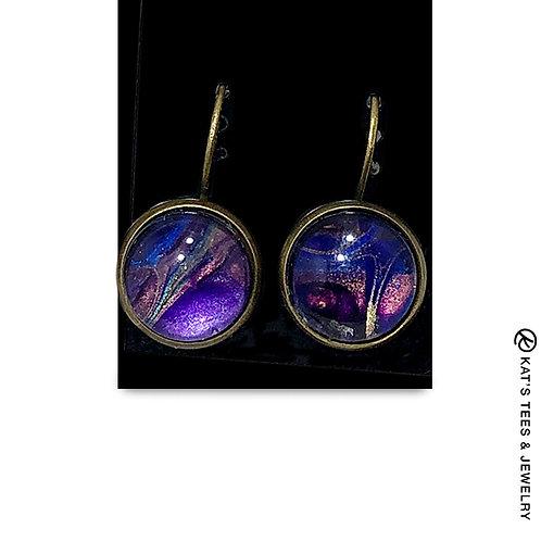 Eye-catching sapphire blue and metallic purple w black earrings