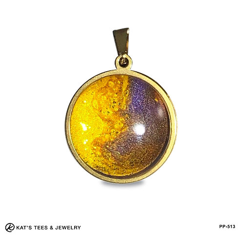 Sparkly purple and gold stainless pendant - LSU fans!