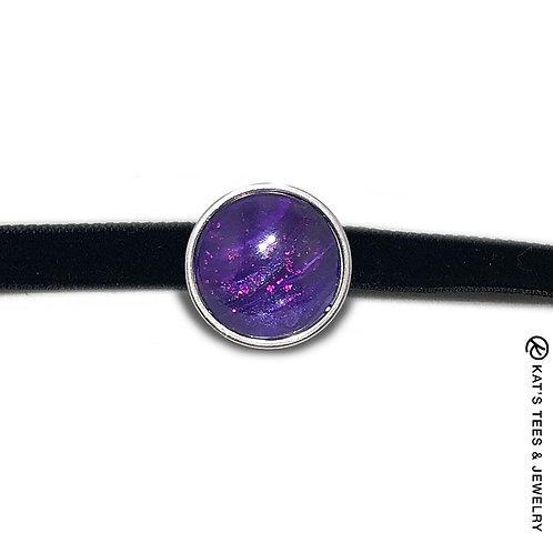 Sparkly purple stainless steel choker on velvet