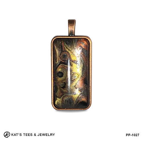 Medium tiger eye pendant in copper alloy