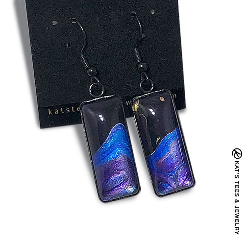 Metallic sapphire blue purple and black earrings in black stainless steel