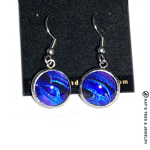 Sapphire blue and metallic purple and black in stainless steel