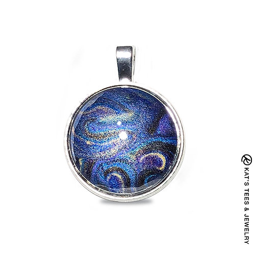 Metallic sapphire and purple pendant from poured acrylics