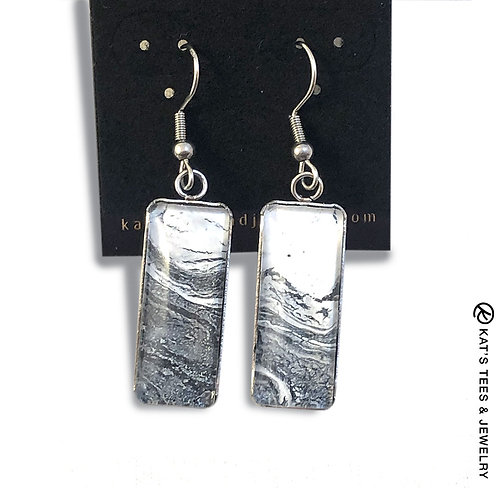 Stainless steel earrings with gray and white art
