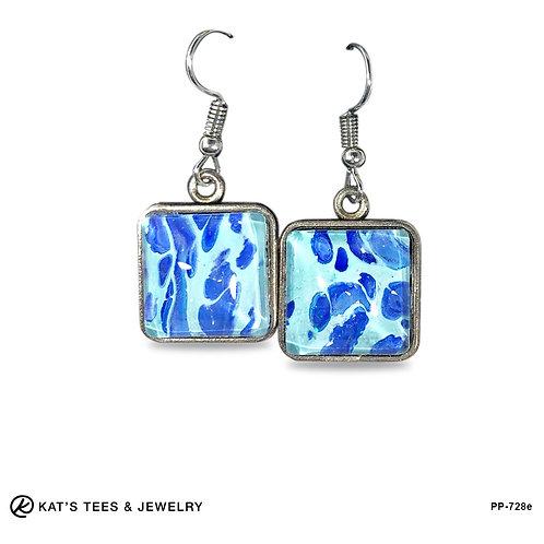 Blue leopard look from poured acrylic earrings - fabulous!